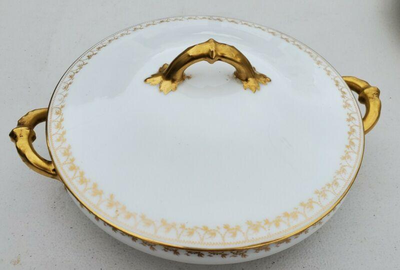 Vintage Haviland Limoges France Covered Serving Bowl White Gold Rim Cassorole