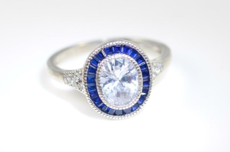 STERLING SILVER LAB SAPPHIRE HALO RING SIZE 6.75 #6761