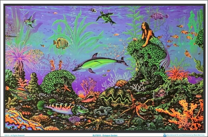 """Octopus Garden by: Michael Fishel Blacklight Poster - Flocked - 35"""" x 23"""""""