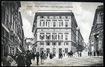 Italy Italia   1900S Genova  Piazza Carlo Felice Et Banca Commerciale