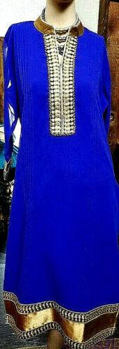 Authentic Indian Kurta Pl Size XL Royal Blue Lined Georgette Soch Handmade Artsy