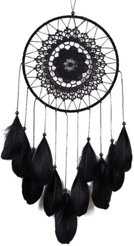 Dream Catcher Black Lace Handmade w/ Feather Hanging Decoration Ornament NEW