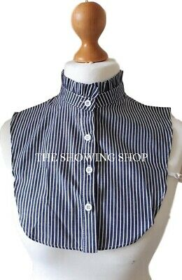 LEAD REIN SHOWING -  NAVY BLUE CANDY STRIPED FALSE HIGH FRILLED COLLAR BIB