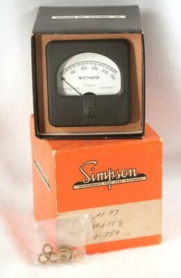 Vintage Simpson Panel Wattmeter Model 77 0-750 Mint In The Box Steampunk 1