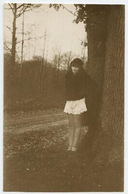 1920s French Risque Nude UNDERWEAR FLAPPER Hitchhiker photo postcard Wyndham