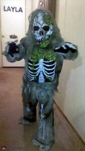 Zombie skeleton costume kids size 4-6 years