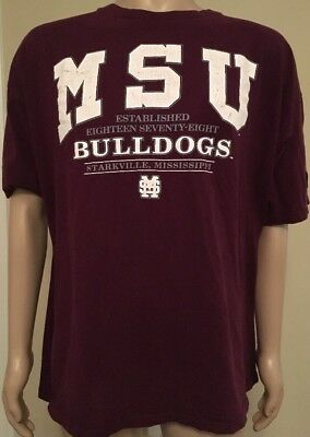 Vintage Mississippi State University MSU Bulldogs T Shirt Starter USA Made XL