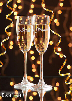 Bride and Groom Champagne Flute Glasses / ...