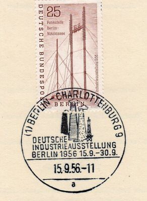 Germany Berlin 1956 Industrial Exhibition on sheet VFU Special cancellation
