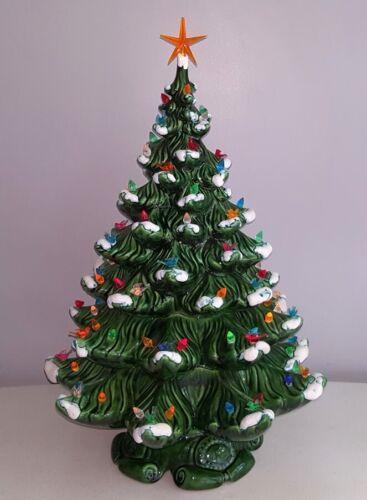 "SNOW Caps Huge 24.5"" Vintage CERAMIC CHRISTMAS TREE, Loads of Lights & Birds"