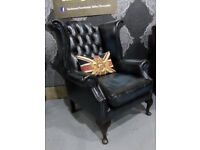 Refurbished RARE Chesterfield Queen Anne Wing Back Chair in Blue Leather - Uk Delivery