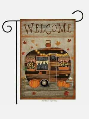 "NEW Fall Primitive Camper Welcome Autumn Garden Flag12.5"" x 18"" Briarwood Lane"