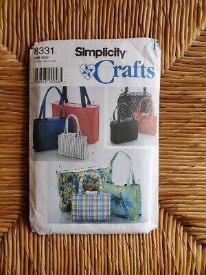 VTG Simplicity Crafts Tote Bag Handbag Purse Pattern #8331 Shopping Bag