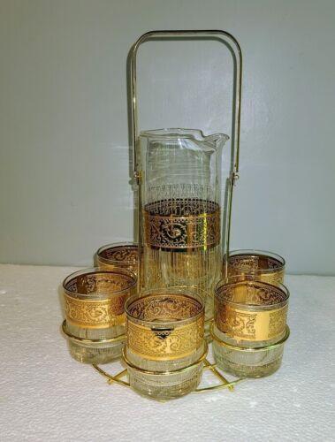 8pc Starlyte Glass Cocktail Drink Martini PITCHER SET Gold Greek Key 22kt 1960