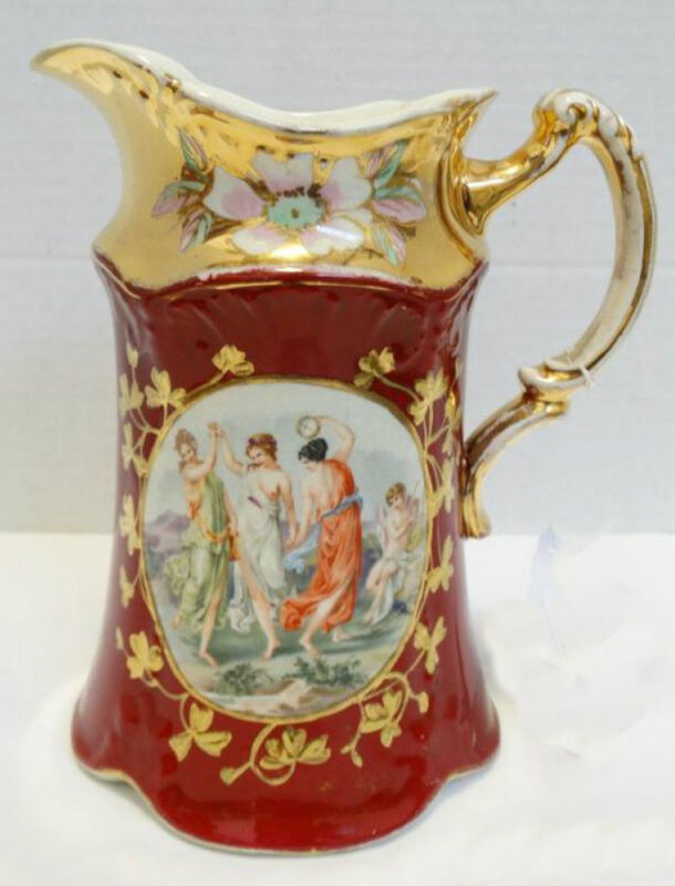 """Vintage Hand Painted Barkers & Kent Ladies with Cherub 8 1/2"""" Pitcher ~ One of 3"""
