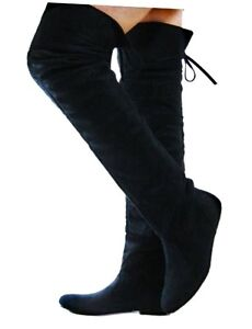 black flat heels suede slouchy thigh high boots