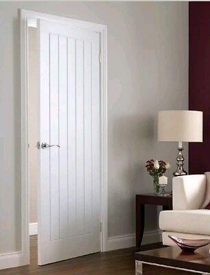Internal White Doors VERTICAL 5 PANEL Moulded Primed Textured Premdor Door