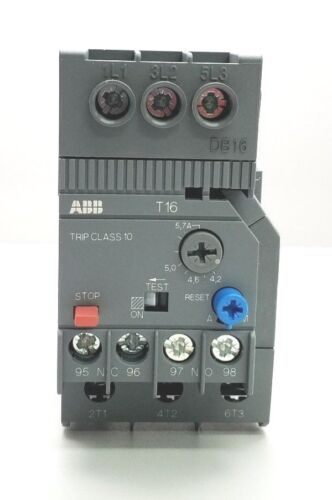 NEW ABB T16-5.7 THERMAL OVERLOAD RELAY w/ DB-16
