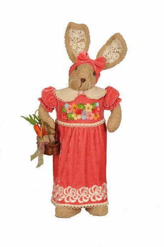 NEW Karen Didion Rabbit Mr Mrs Coral Bunny Boy or Girl Spring 29″ Tall Easter