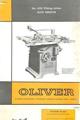Oliver 232 Tilting Arbor Saw Bench Manual Parts List Pdf
