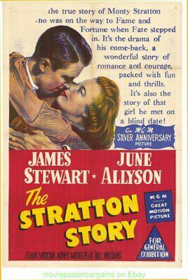 THE STRATTON STORY THE MOVIE POSTER V.Fine JAMES STEWART 1949 Aus. 27x40 Folded