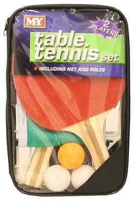 Complete Table Tennis Game Set 2 Players Ping Pong Bats 3 Balls Net Pole TY9874