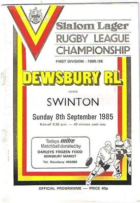 Dewsbury v Swinton 1985/6