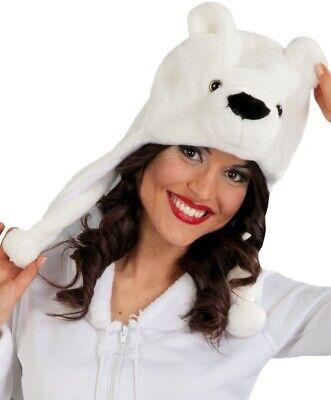 Uomo Donna Orso Polare Natale Animale Costume Vestito Cappello Cappuccio