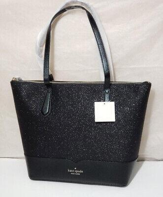 NWT Kate spade lola glitter tote laptop shoulder bag satchel Black handbag