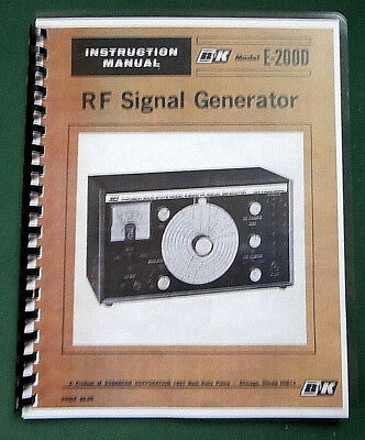 Bk E-200d Signal Generator Instruction Manual Comb Bound Protective Covers