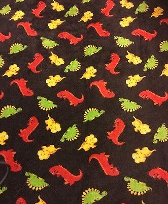 Okie Dokie Brown Red Dinosaur Baby Security Blanket Fleece 2011 JC Penney RARE