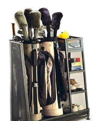 Golf Garage Organizer Equipment  Bag Stand Two Bags Club Storage Metal Gear GIFT