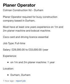 Planer operator vacancy
