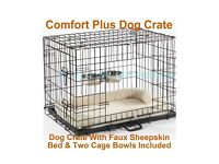 Luxury dog crate with sheep skin bed