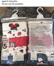 Disney Minnie Mouse short sleeve bodysuit pack of 5,aged 0-3months
