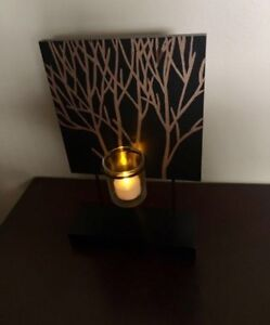Home Decor- Solid wood black and brown tree candle holder