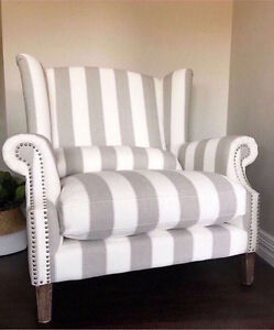 NEW MAJESTIC 1.5 SEATER OVERSIZED WING ARMCHAIR FRENCH GREY LINEN