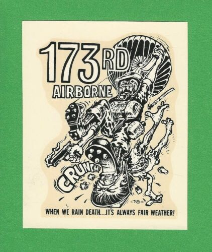 "VINTAGE ORIGINAL 1966 ED ROTH ""173 RD AIRBORNE"" ARMY PARATROOPER WATER DECAL ART"