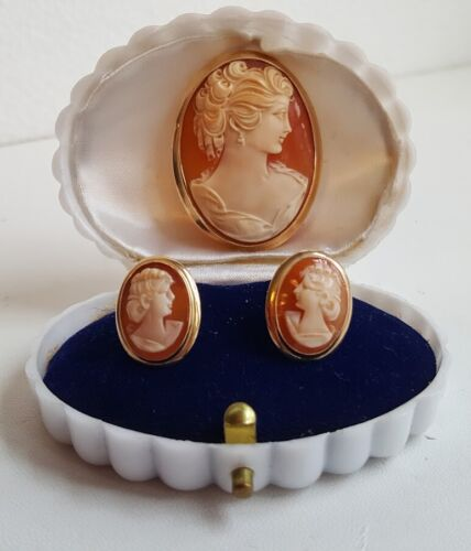 10k Master Carver Shell Cameo Pin Pendant & Matching Earrings Non-pierced Ears