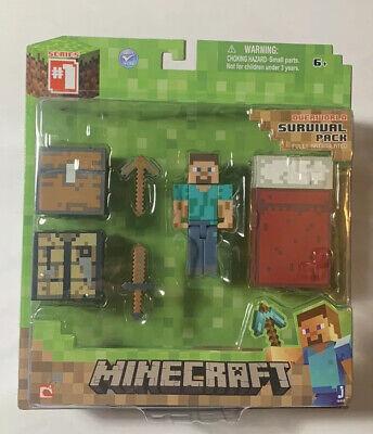 2014 Minecraft Overworld Steve Survival Pack Figure Series 1 New Sealed