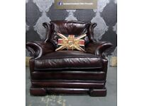 Refurbished Dellbrook Chesterfield Wing Back Chair in Oxblood Red Leather - UK Delivery