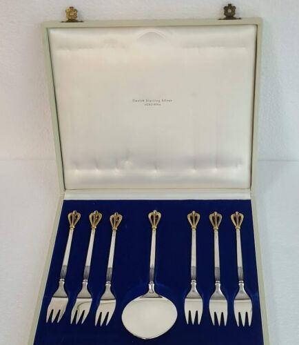 W&S SORENSEN Denmark Golden Crown Sterling Dessert Set 7 Piece, Hard To Find