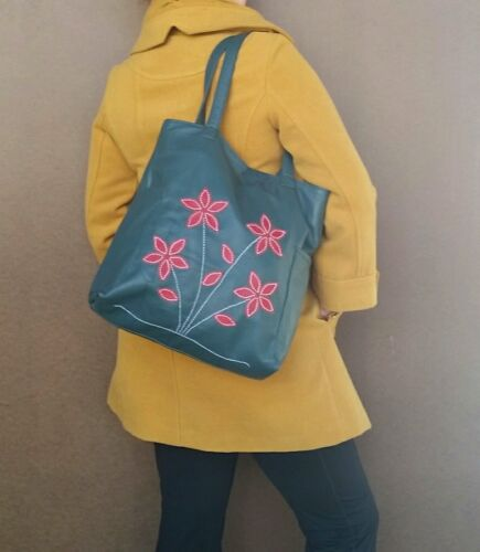 Green Leather Tote Bag with Flowers, Women Bags, Shoulder Ha