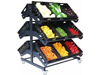 Shop Shelving Mobile Fruit and Veg Display Double Sided
