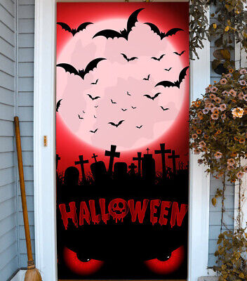 Halloween Night Mural Banner for Entry Door Cover Holiday Outdoor Decor B17