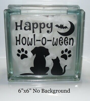 Happy Howloween Halloween dog cat Vinyl Decal Sticker crafts DIY glass block](Halloween Vinyl Crafts)