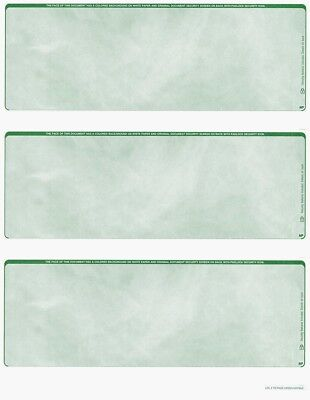 Blank Check Stock - 300 checks Blank Security Check Stock Paper - 3 Per Page - (Marble Green)