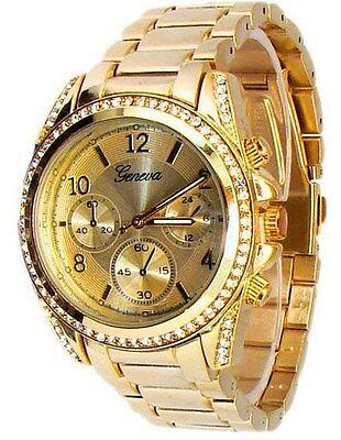 New Gold Geneva Watch Crystal Bezel Women's Fashion Bracelet Oversized