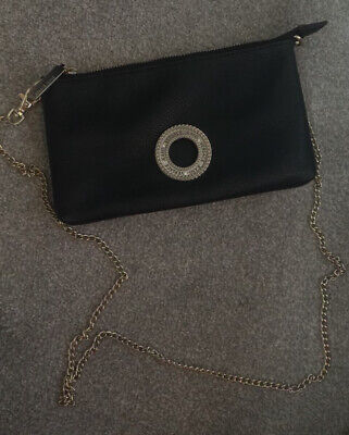 Genuine Versace Black Leather Bag With Chain Handle