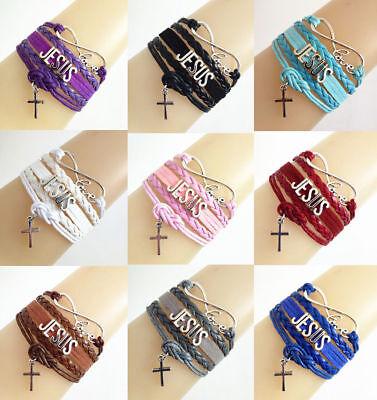 Infinity Love Jesus W/ Cross Christ Charm Bracelet Multi Color New Free Track